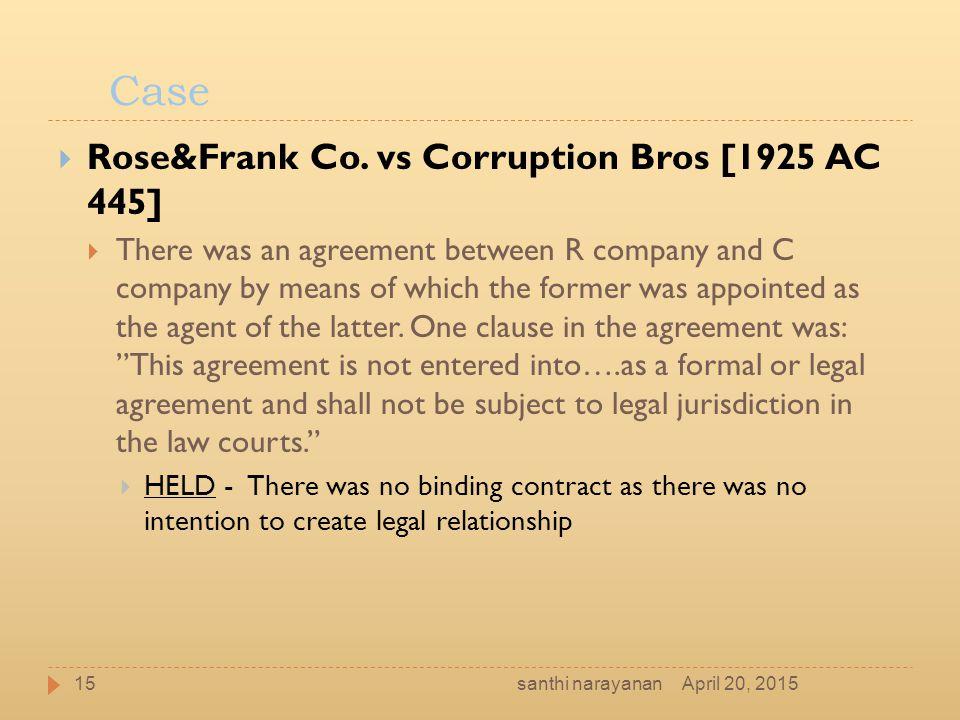 Case Rose&Frank Co. vs Corruption Bros [1925 AC 445]